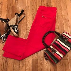 Red Stretch Denim Capri Pants